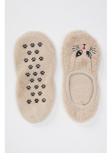 DeFacto Pelüş Ev Patik Çorabı Bej